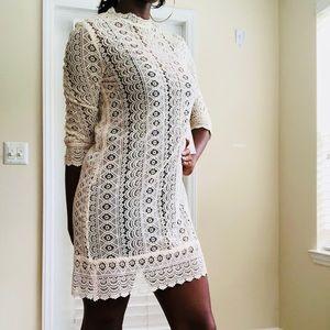 Calvin Klein Off White Lace Dress